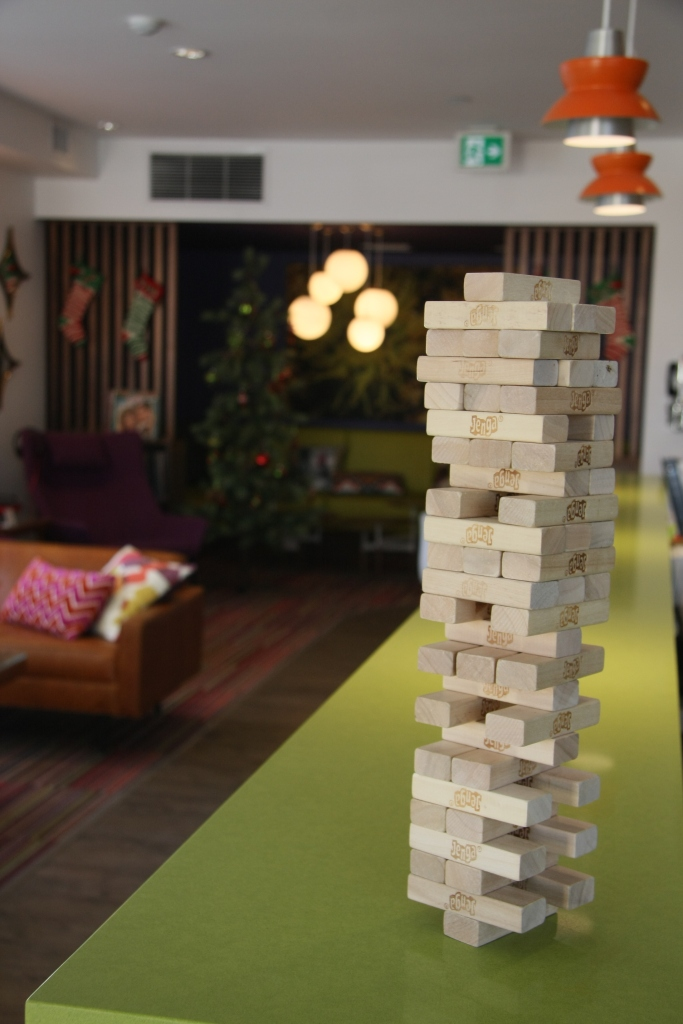 Jenga in the lobby of the Hotel Zed